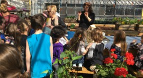 Grade one students visit the greenhouse at Fellowes High School