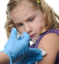 Child being immunized